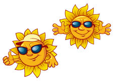 Cartoon summer suns with welcome open arms Royalty Free Stock Image