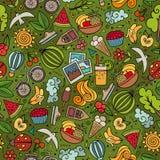 Cartoon summer time seamless pattern Stock Photo