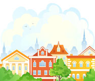 Cartoon summer town. Illustration of a summer old town Stock Photos