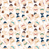 Cartoon Sumo wrestler seamless pattern Stock Photography