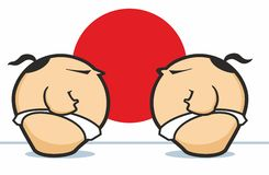 Sumo Wrestlers Face Off Against Red Circle Stock Image