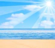 Cartoon sun. Illustration over sea stock illustration