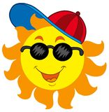 Cartoon Sun in baseball cap Royalty Free Stock Photography