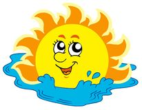 Cartoon Sun bathing in sea. Vector illustration Stock Photos