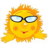 Cartoon sun bespectacled Royalty Free Stock Photo