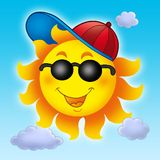 Cartoon Sun in cap on blue sky Royalty Free Stock Photo