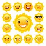 Cartoon Sun Character Emoticons Set Stock Photography