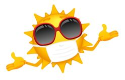Free Cartoon Sun Character Protected Against Virus Royalty Free Stock Photo - 178382515