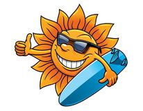 Cartoon sun character with sunglasses and Stock Photo