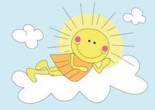Cartoon sun on the cloud. Illustration of cartoon sun on the cloud over blue sky Royalty Free Stock Photo