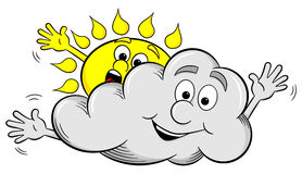 Cartoon sun and cloud make overcast sky Royalty Free Stock Image
