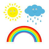 Cartoon sun, cloud with rain and rainbow set. Isolated. Children Royalty Free Stock Photography