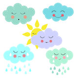 Cartoon sun and clouds. Vector illustration of funny cartoon sun and clouds with different faces. Flat design royalty free illustration