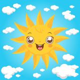Cartoon sun and clouds Royalty Free Stock Photo