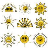 Cartoon sun designs. Cartoon illustration of sun designs vector stock illustration