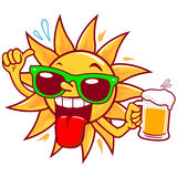 Cartoon sun drinking beer. A cartoon funny summer sun wearing green sunglasses, holding a cold glass of beer and doing a thumbs up gesture vector illustration