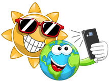 Cartoon Sun and Earth taking selfie Royalty Free Stock Image