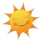 Cartoon Sun Face. Artoon illustration of a sun with a smile face Royalty Free Stock Photo