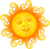 Cartoon Sun Face/ai. Cartoon illustration of a sun with a wise old face