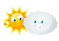 Cartoon Sun with funny cloud Royalty Free Stock Image