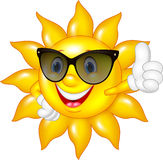 Cartoon sun giving thumbs up isolated on white background Stock Photography
