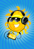 Cartoon sun with headphone Stock Image