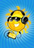 Cartoon sun with headphone Stock Image