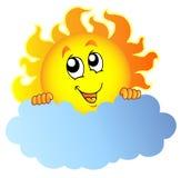 Cartoon Sun holding cloud. Illustration stock illustration
