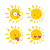 Cartoon sun. Icon set smile face symbol royalty free illustration