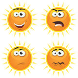 Cartoon Sun Icons Emotions. Illustration of a set of various cartoon funny sun symbol icons characters with various emotions, happy, angry, doubtful and sadness Royalty Free Stock Image