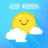 Cartoon Sun In Clouds Smiles. Good Morning Card. Flat Style. Vector Illustration Stock Photo