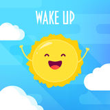 Cartoon sun laughs on blue background with clouds. Wake up poster. Flat style. Vector illustration Royalty Free Stock Photos