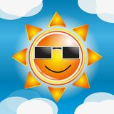 Cartoon Sun. Made in vector Stock Photo