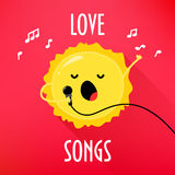 Cartoon sun with microphone sings love songs. Cute music card for karaoke album. Flat style. Vector illustration Stock Photo