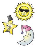 Cartoon Sun Moon and Star. A cartoon depiction of a sleeping moon, dressed up star and hot sun Royalty Free Stock Photo