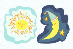 Cartoon sun and moon. Royalty Free Stock Image