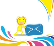 Cartoon sun moves a large envelope. Royalty Free Stock Photos