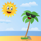 Cartoon Sun and Palm Characters. Cartoon scene with the sun and a palm tree on a beach. Eps file available vector illustration