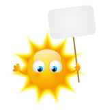 Cartoon Sun with paper plate Stock Photos