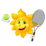 Cartoon sun is playing tennis Stock Photo