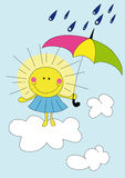 Cartoon sun in the rain. Illustration of cartoon sun on the cloud over blue sky in the rain Royalty Free Stock Photography