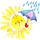 Cartoon sun and rain watercolor illustration Royalty Free Stock Image