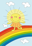 Cartoon sun on the rainbow Stock Image