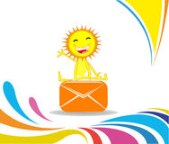 Cartoon Sun received a letter and sits on the envelope Royalty Free Stock Images