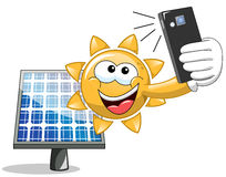 Cartoon Sun selfie solar panel Royalty Free Stock Images
