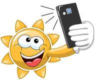 Cartoon Sun selfie. Cartoon Sun taking selfie vector illustration
