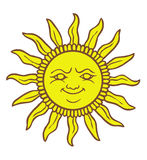 Cartoon Sun smiling. A comic cartoon drawing of a stylized sun, smiling vector illustration