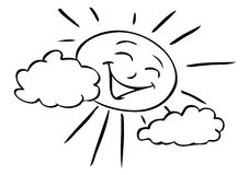 Cartoon Sun smiling. A comic cartoon drawing of a stylized sun, smiling Royalty Free Stock Photos