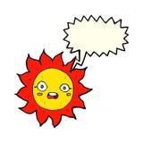 Cartoon sun with speech bubble Royalty Free Stock Photos