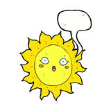 Cartoon sun with speech bubble Stock Photography